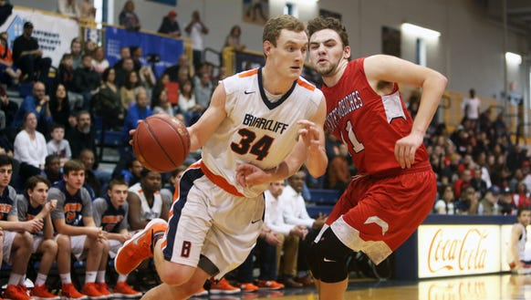 Briarcliff's Jackson Gonseth (34) drives to the basket