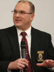 Panelist Ryan Goecke, President of the Iowa State Police Association and a lieutenant with the Marshalltown Police Department participates in the Des Moines Register's forum on Iowa's use of forfeiture on Tuesday, April 14, 2015 in Capital Square.