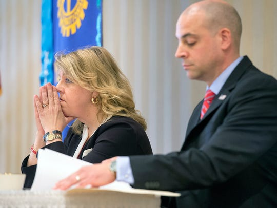 Jonelle Harter Eshbach, left, and Dave Sunday think
