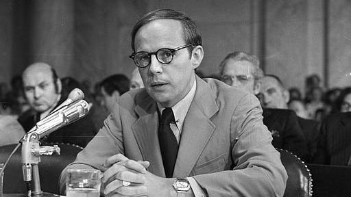 Former White House aide John Dean III, pauses while reading a long prepared statement before the Senate Watergate Committee on June 25, 1973.
