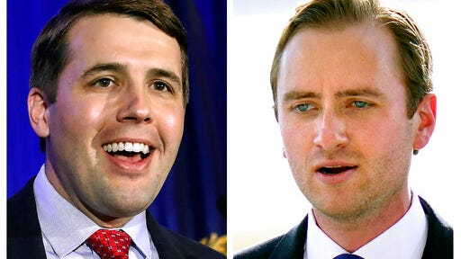 FILE - This photo combo shows incumbent U.S. Rep Chris Pappas, D-NH, left, and Republican challenger Matt Mower, right, candidates in New Hampshire's 1st Congressional District in Nov. 3, 2020, general election.