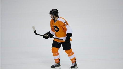 Philadelphia Flyers' Jason Akeson in action during a preseason NHL hockey game against the Washington Capitals, Monday, Sept. 16, 2013, in Philadelphia. (AP Photo/Matt Slocum)