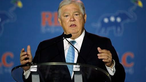 Former Mississippi Governor Haley Barbour addresses the Republican Leadership Conference in New Orleans, La., Friday, May 30, 2014. Midterm election campaigns are in full swing, but several thousand Republicans gathering in Louisiana look toward a bigger prize. (AP Photo/Bill Haber)
