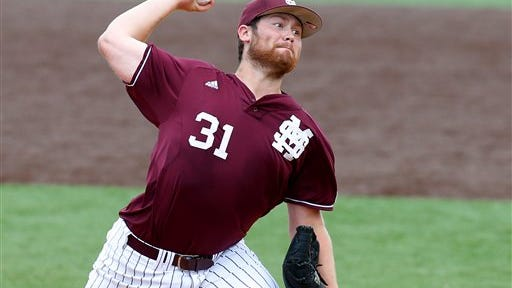 Mississippi St. pitcher Trevor Fitts (31) pitches the ball in the second inning during an NCAA college baseball regional tournament game against San Diego State in Lafayette, La., Friday, May 30, 2014. (AP Photo/Jonathan Bachman)