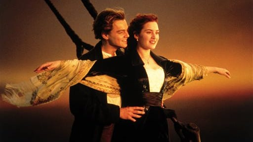 """This image released by Paramount Home Entertainment shows Kate Winslet and Leonardo DiCaprio in a scene from the film, """"Titanic."""""""