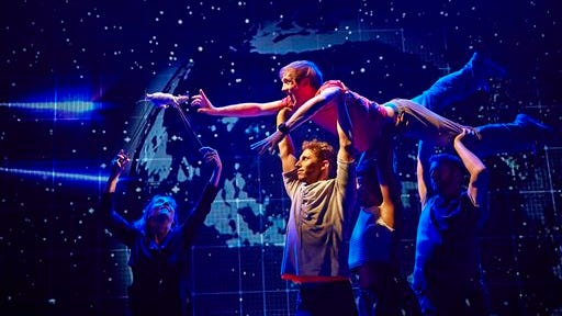 """The cast during a performance of ?""""The Curious Incident of the Dog in the Night-Time,"""" in London. The new play by Simon Stephens is adapted from Mark Haddon?s best-selling novel of the same name and is directed by Tony Award-winner Marianne Elliott."""