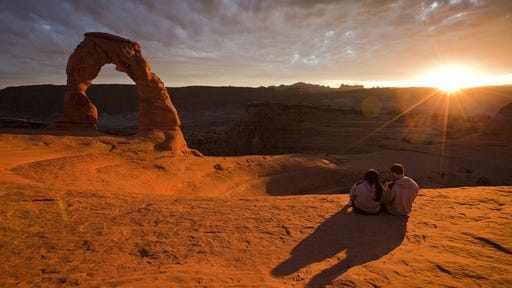 Vistas in  Arches National Park in Utah are among romantic spots in 15 national parks highlighted in the new I Heart Parks guide from the National Park Foundation.