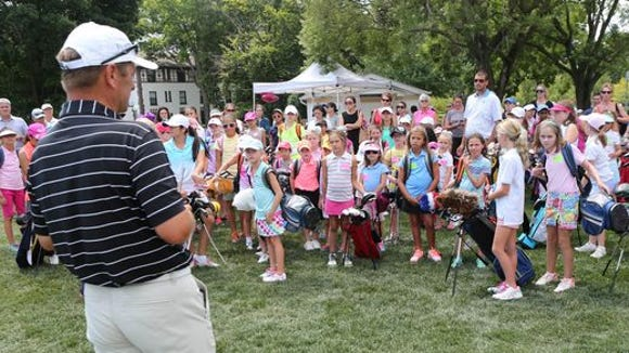 Westchester Country Club pro Gary Weir speaks to dozens of girls during the WMGA Foundation's Girls to the Tee event at the Westchester Country Club in Rye Aug. 3, 2015. The event offers a free clinic that provides instruction and interaction for girls interested in golf.