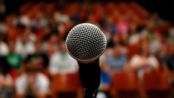 Microphone at a public forum.