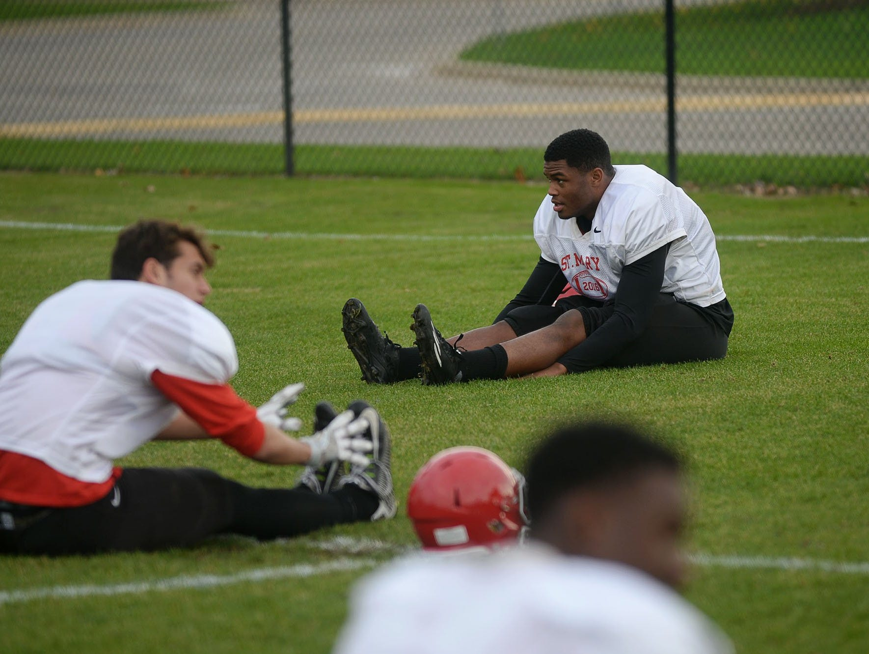 Orchard Lake St. Mary's linebacker Josh Ross leads stretching during practice Tuesday, Nov. 8, 2016 at Orchard Lake St. Mary's.