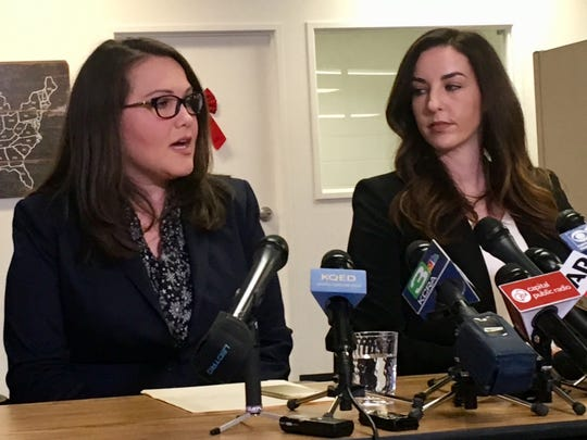 Pamela Lopez, left, and Jessica Yas Barker, right, at a press conference accusing Assemblyman Matt Dababneh of sexual misconduct.