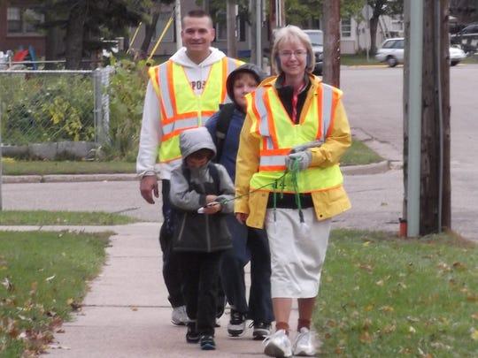 """Volunteers run the """"Walking School Bus"""" in Wisconsin Rapids."""