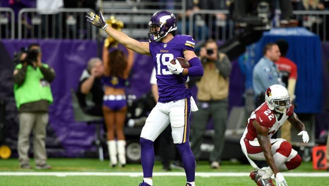 Adam Thielen, a former MSU-Mankato star, led the Vikings with 967 receiving yards last year.