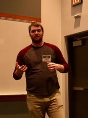 York College student Bryce Kruger pitches a business idea at the Spartan Startup program.