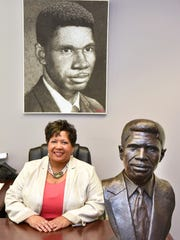 Reena Evers-Everette, daughter of Medgar and Myrlie Evers, serves as executive director of the Medgar and Myrlie Evers Institute in Jackson. In her office, she keeps reminders of her father, including a bust by Ed Dwight and a portrait made with gunpowder by Nicholas Schleif.