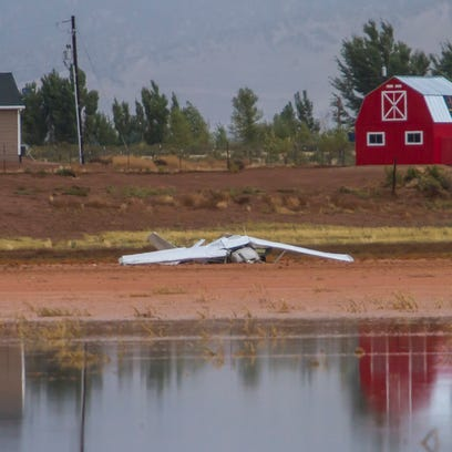 The scene of a plane crash at Quichapa Lake outside