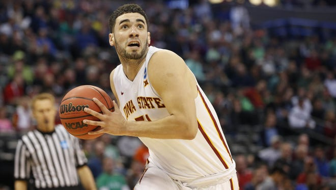 Iowa State forward Georges Niang (31) eyes the basket Thursday, March 17, 2016, during their first round game against Iona at the NCAA men's basketball tournament at the Pepsi Center in Denver.