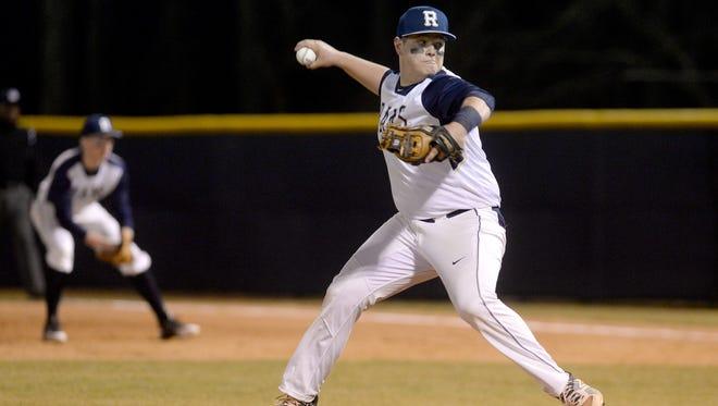 Roberson's Trenton Davis pitches Tuesday night in Skyland.