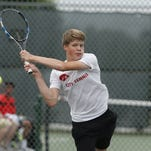Iowa City High junior Joe Hoff hits the ball back to Council Bluffs Abraham Lincoln senior Kyle Crowl in their singles match during the Class 2A Iowa high school state tennis tournament on Friday, May 28, 2016, at Veteran's Memorial Tennis Center in Cedar Rapids.