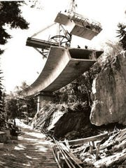 The Linn Cove Viaduct under construction on the Blue