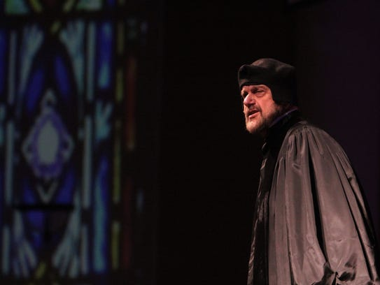 """Dressed as Martin Luther, Clarence """"Bud"""" Bence, a historian"""