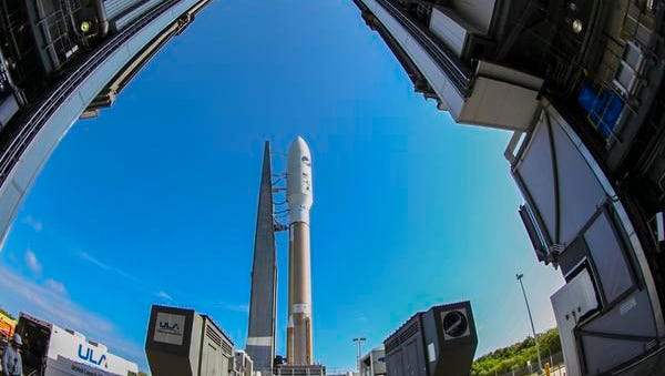 Atlas V rocket on way to launch pad.