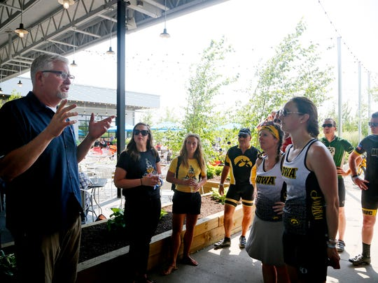 Big Grove Brewery co-founder Doug Goettsch leads riders on a tour  on day six of the 2018 RAGBRAI Pre-Ride Route Inspection Friday, June 8, 2018.