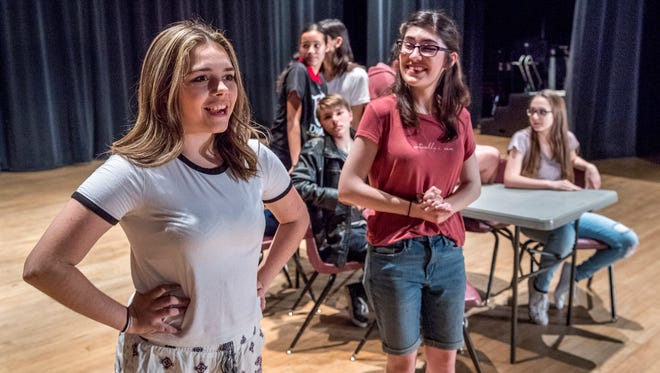 """Isabella Welch, left, and Sophie Miller rehearse Thursday, May 3, 2018 for Tulare Union's production of """"Becoming Juliet."""""""