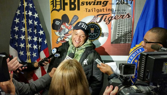 Miguel Cabrera and the Tigers made a winter caravan stop at the Detroit FBI Field Office on Friday.
