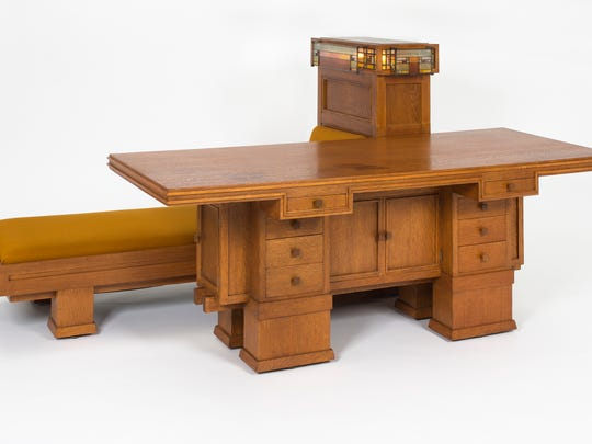 "George Mann Niedecken's ""Combination Writing Desk, Daybed, and Lamp from the Edward P. Irving Residence (Decatur Illinois)"" (1910-'11). Niedecken's contribution to the work of Frank Lloyd Wright is recognized in a new Milwaukee Art Museum exhibit."