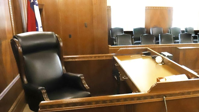 Judge and jury seating as seen in the Circuit Court of the Fort Smith Courthouse on Thursday.