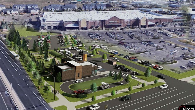 A drive-through Starbucks and dog park is planned for a greenbelt next to the Walmart parking lot at Lemay Avenue and Magnolia.