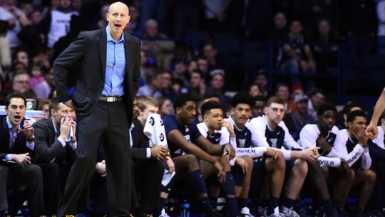 Xavier Musketeers head coach Chris Mack reacts during