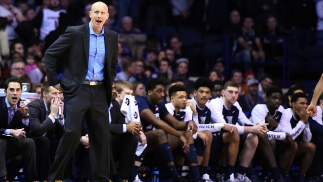 Xavier Musketeers head coach Chris Mack reacts during the first half against the DePaul Blue Demons at Allstate Arena.