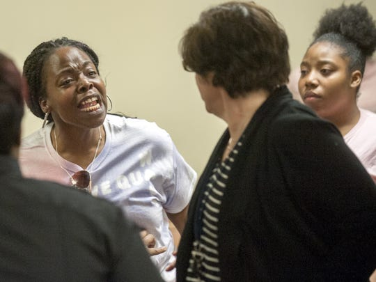 LaTisha Turner, mother of 16-year-old Quason Turner of Pennsauken who was the victim of a hit-and-run by Susan Hyland of Beverly, reacts with anger after Hyland was sentenced to drug treatment and probation during sentencing at Camden County Superior Court on February  23, 2017.