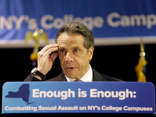 In this May 11, 2015 file photo, New York Gov. Andrew Cuomo speaks at the Fashion Institute of Technology in New York.