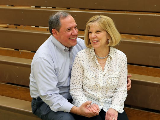 Lee and Judie Pagones return to the location of  their first date, a sock hop in the Spackenkill High School gym in Poughkeepsie, Feb. 3, 2017.