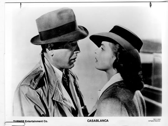 "Humphrey Bogart and Ingrid Bergman in ""Casablanca."""