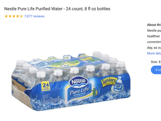 Screenshot of Google Express, where water isn't available