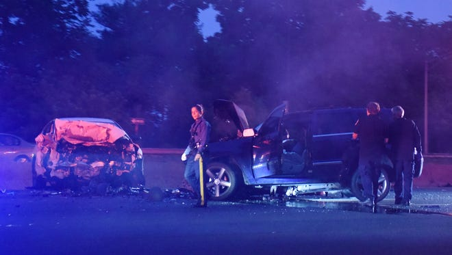 The scene where a person was killed in a two-car accident on eastbound Route 80 near Squirrelwood Road in Woodland Park June 24, 2018.