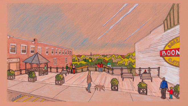 An artist's rendering of the scenic Boonton 'Boardwalk' on Main Street will be revived and reopened after the town was awarded a county open-space grant.
