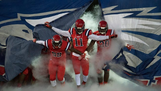 The high school football game between St. Lucie West Centennial and Treasure Coast at South County Stadium on Friday, October 27, 2017 in Port St. Lucie.