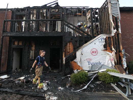 Firefighters were called to Garden Gate Apartments, near Watterson Trail and Southeast Christian Church, overnight for a fire in a two-story apartment building. July 10, 2014