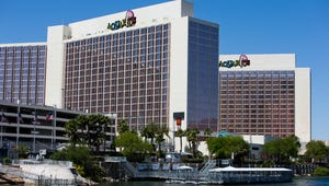 The Aquarius Hotel, in Laughlin, stands along the banks of the Colorado River below Davis Dam.