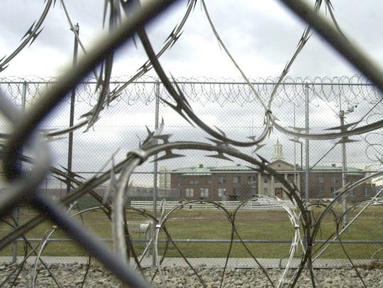 A look through razor wire at an Ohio prison.