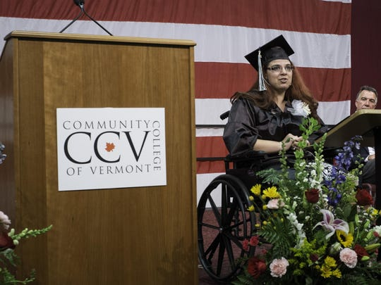 Graduate Ashlee Brady-Kelly delivers the commencement address at the CCV commencement in Northfield.
