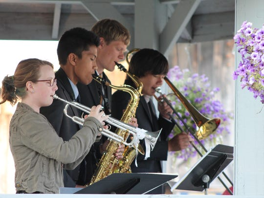 Big Band Jazz program students play a small-combo prelude concert in the Birch Creek gazebo.