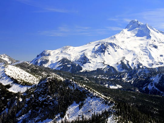 """A view of Mount Jefferson is seen from Bear Point's former lookout site. This is one of the lesser-known trails found in Matt Reeder's book """"Off The Beaten Trail: Fantastic Unknown Hikes In Northwest Oregon and Southwest Washington."""""""