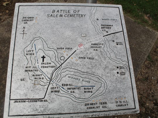 A map at Salem Cemetery Battlefield outlines the details of the battle.