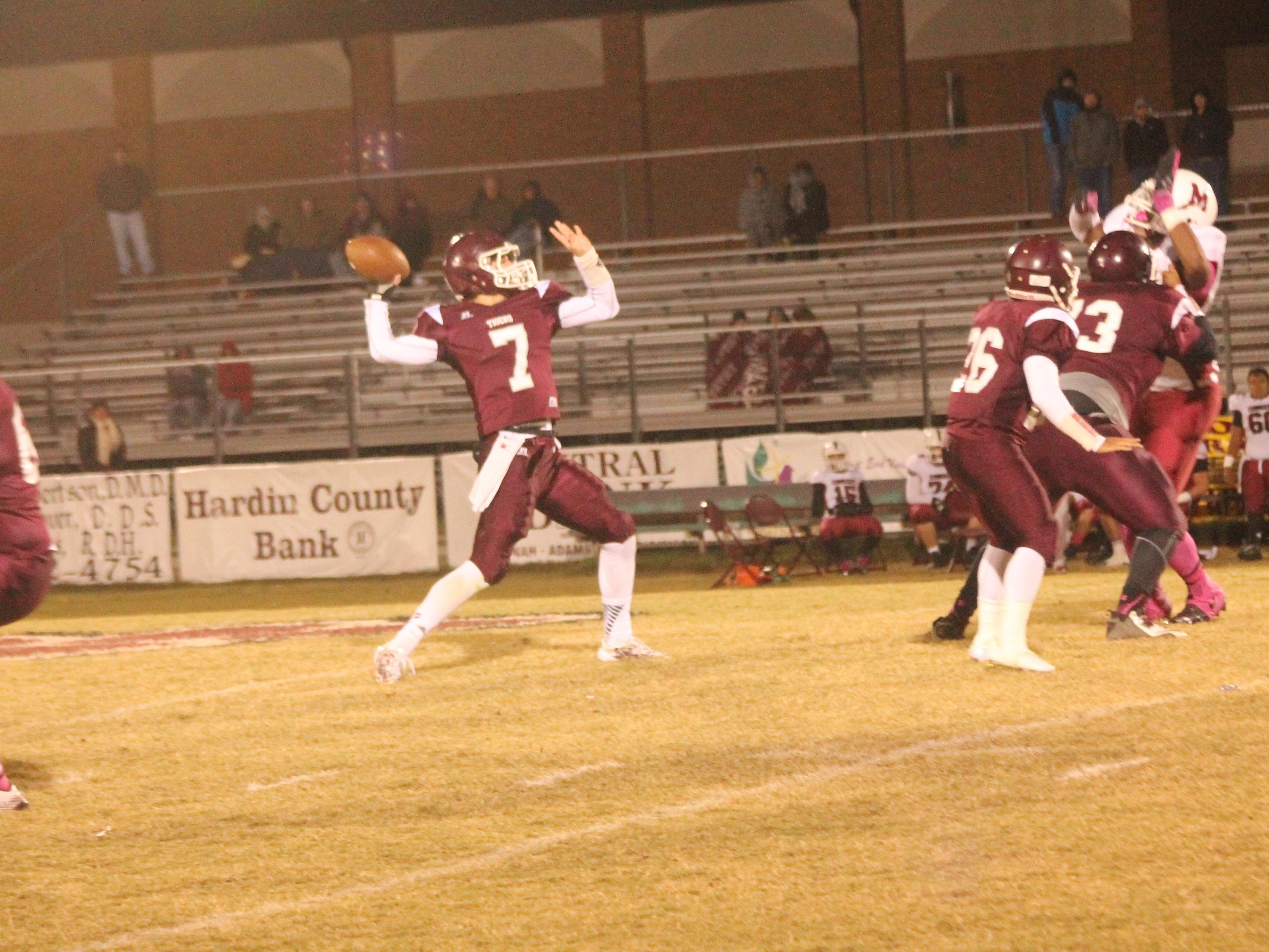 Cal Gobbell, seen here in a game last year vs. Munford, has led Hardin County to a 3-0 start in his senior season as the Tigers' quarterback.